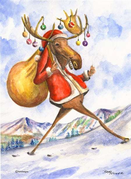 """Christmas Moose"" Boxed Christmas Card Original Watercolor by Brad Tonner"