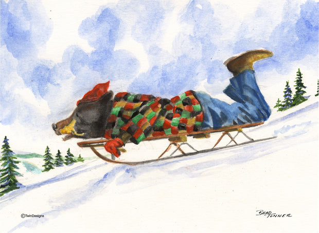 """Christmas Morning Sledding"" Boxed Christmas Cards Original Watercolor by Brad Tonner"