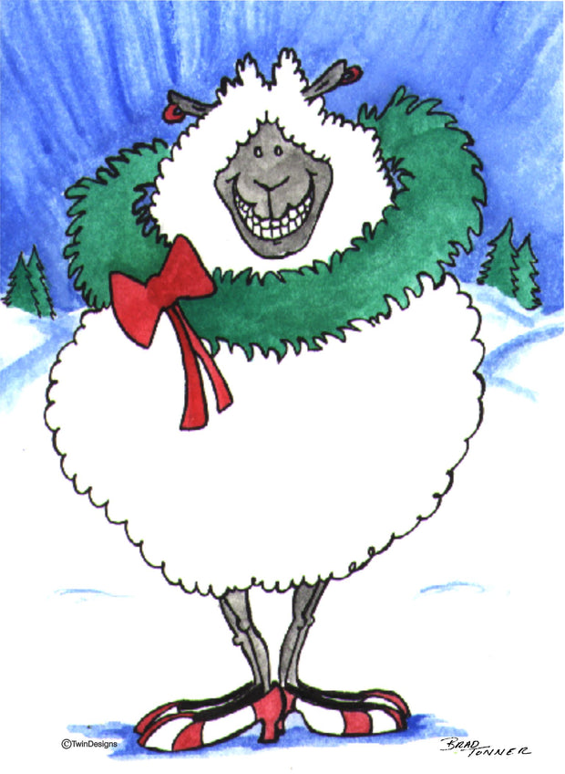 """Christmas Sheep"" Boxed Christmas Cards Original Watercolor by Brad Tonner"