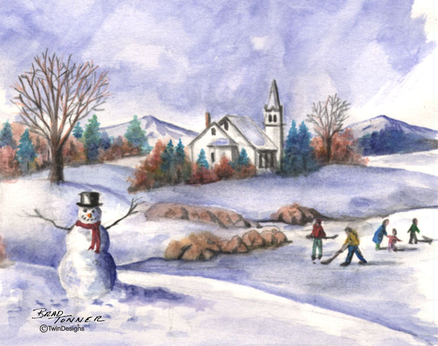 """Christmas Village"" Boxed Christmas Cards Original Watercolor by Brad Tonner"