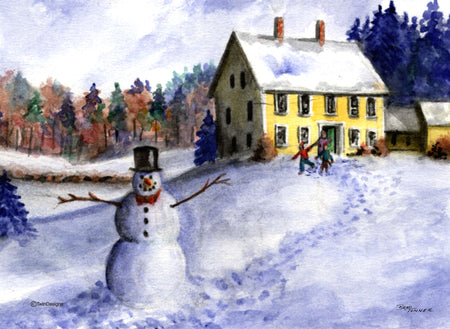"""Christmas at Home"" Boxed Christmas Cards Original Watercolor by Brad Tonner"