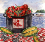 """Clam Bake"" Ceramic Tile Trivet  Original Watercolor by Brad Tonner. 6"" x 6"" Cork Backing."