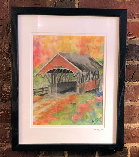 """Flume Covered Bridge"" Framed Print by Brad Tonner"