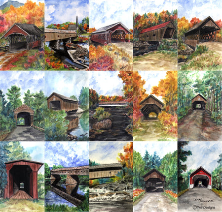 """Covered Bridges of New Hampshire"" Ceramic Tile Trivet"