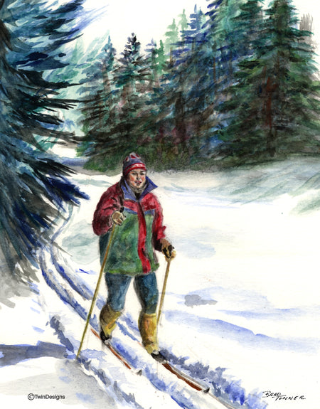 Cross Country Skiing Note Cards