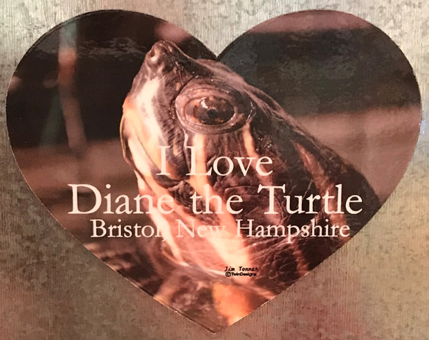 I Love Diane the Turtle Die Cut Heart Magnet