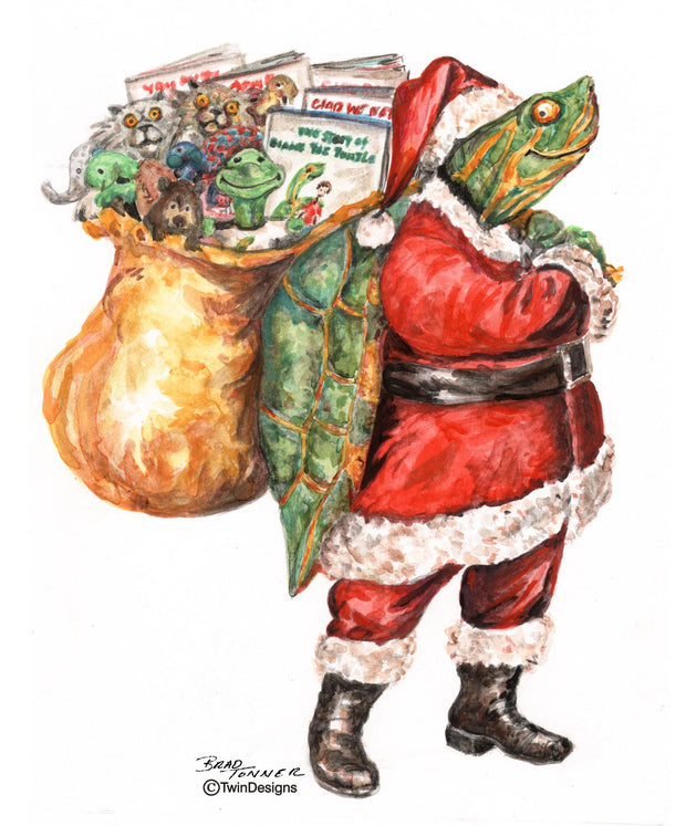 """Christmas with Diane the Turtle"" Boxed Christmas Cards original Watercolor by Brad Tonner"