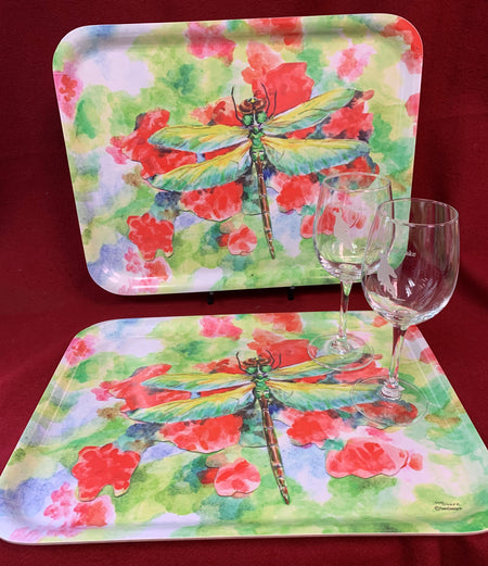 """Dragonfly"" Wooden Tray featuring Original Watercolor by Brad Tonne"