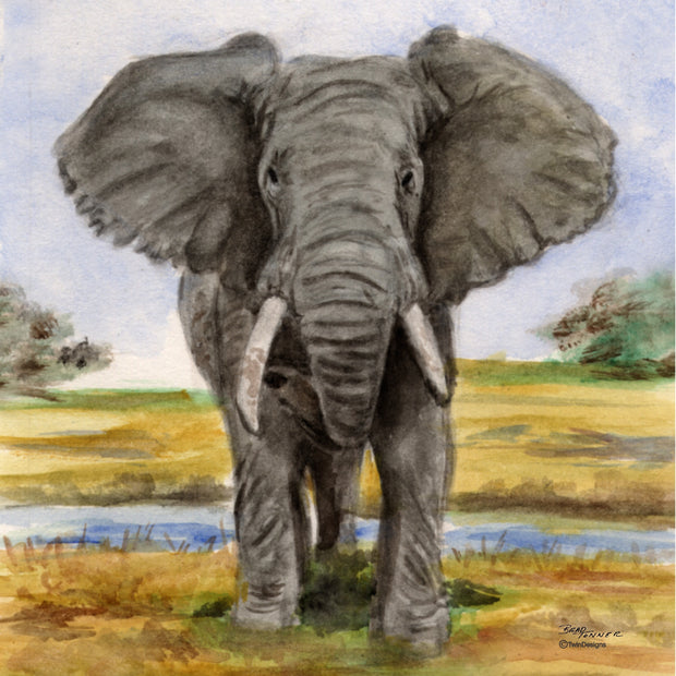 """Elephant"" Ceramic Tile Trivet"