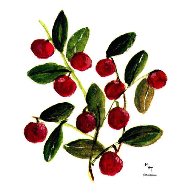 """ Cranberries"" Ceramic Trivet Original Painting by Margery Hillier Tonner"