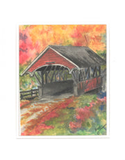 """Flume Covered Bridge"" Print of an Original Watercolor by Brad Tonner"