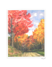 "Matted Print ""Fall Road"" by Brad Tonner"