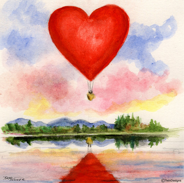 """Heart Balloon"" Ceramic Tile Trivet  Original Watercolor by Brad Tonner. 6"" x 6"" Cork Backing."