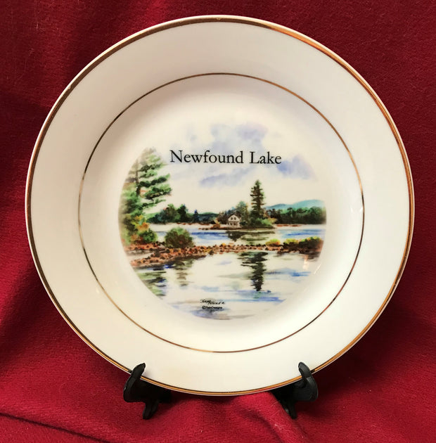 """Loon Island Newfound Lake "" 8""  China Plate featuring an original watercolor by Brad Tonner"