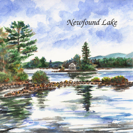 """Loon Island Newfound Lake"" Ceramic Tile Trivet"