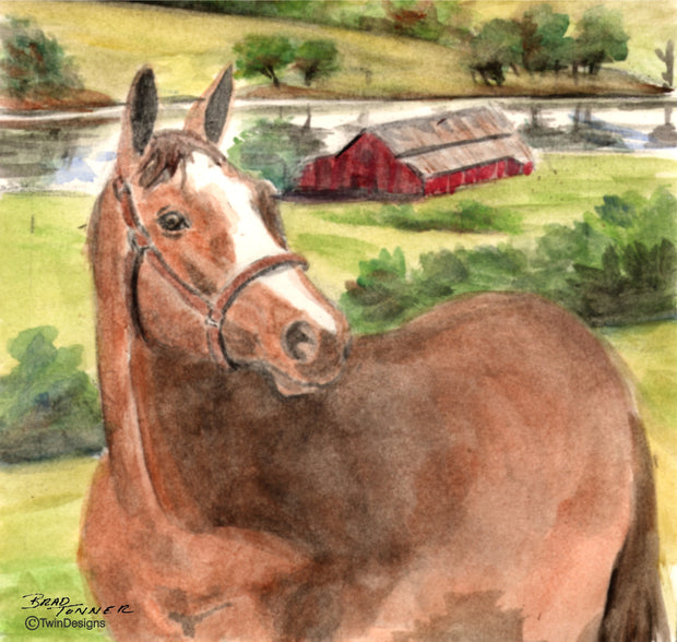 """Horse Farm"" Ceramic Tile Trivet"