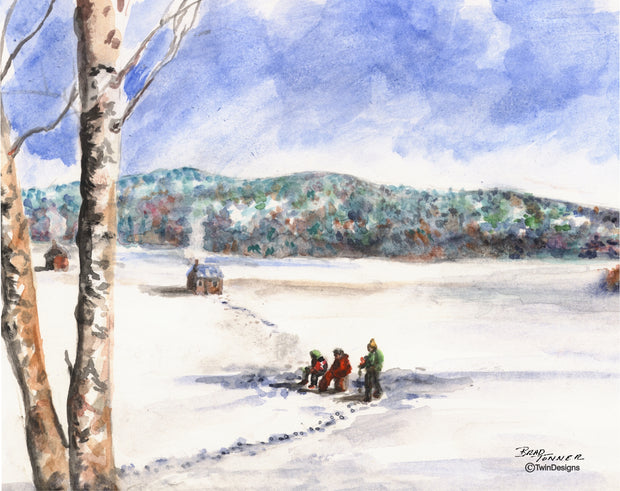 Ice Fishing on Newfound Lake Note Cards
