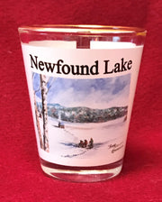 Ice Fishing on Newfound Lake Shot Glass