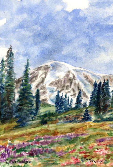 """Mount Ranier Washington"" Note Cards Original Watercolor by Brad Tonner"
