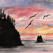 """Washington Sunset"" Ceramic Trivet Original Watercolor By Brad Tonner"