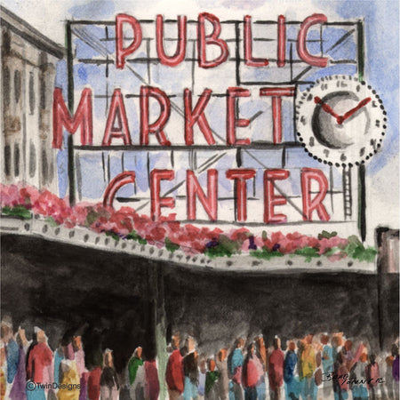 """Public Market Seattle"" Ceramic Trivet Original Watercolor by Brad Tonner"