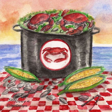 """Crab Bake"" Ceramic Trivet Original Watercolor by Brad Tonner"