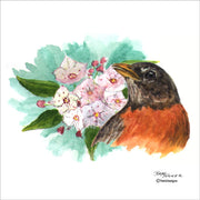 """Robin and Laurel"" Ceramic Trivet Original Watercolor by Brad Tonner"