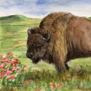"""Where the Buffalo Roam"" Ceramic Trivet Original Watercolor by Brad Tonner"