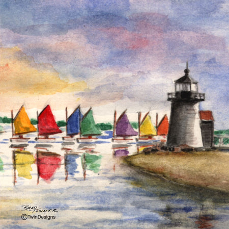 """Rainbow Fleet ""  Ceramic Trivet Original Watercolor by Brad Tonner"