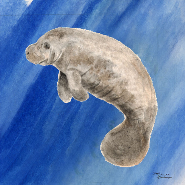 """Manatee"" Ceramic Trivet Original Watercolor by Brad Tonner"