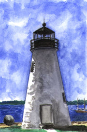 """Concord Point Lighthouse Maryland"" Boxed Note Cards Original Watercolor by Brad Tonner"