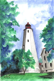 """Sandy Hook Lighthouse New Jersey"" Boxed Note Cards Original Watercolor by Brad Tonner"