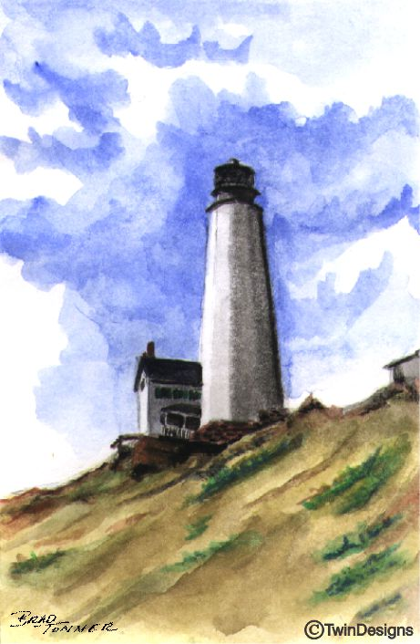 """Cape Henlopen Lighthouse Delaware"" Boxed Note Cards Original Watercolor by Brad Tonner"