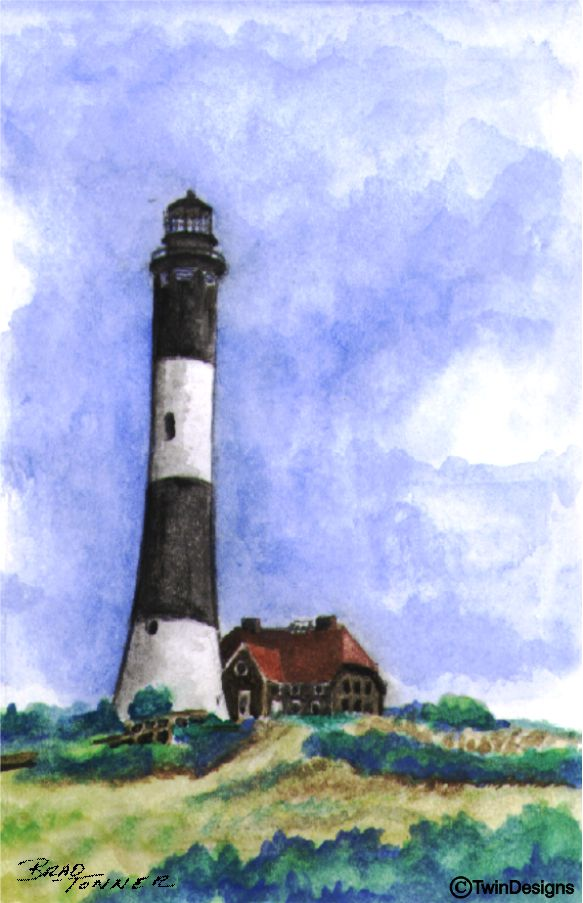 """Fire Island Lighthouse New York"" Boxed Note Cards Original Watercolor by Brad Tonner"