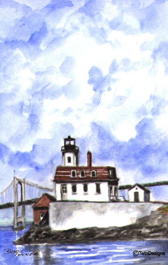 """Rose Island Lighthouse Rhode Island"" Boxed Note Cards Original Watercolor by Brad Tonner"