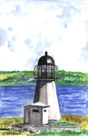 """Sandy Point Lighthouse Rhode Island"" Boxed Note Cards Original Watercolor by Brad Tonner"
