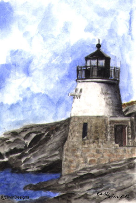 """Castle Hill Lighthouse Rhode Island"" Boxed Note Cards Original Watercolor by Brad Tonner"