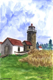 """Monhegan Island Lighthouse Maine"" Boxed Note Cards Original Watercolor by Brad Tonner"