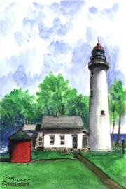 """Point Aux Barques Lighthouse Michigan"" Boxed Note Cards Original Watercolor by Brad Tonner"