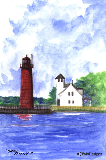 """Muskegon South Pier Lighthouse Michigan"" Boxed Note Cards Original Watercolor by Brad Tonner"