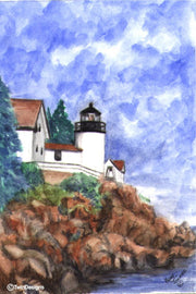 """Bass Harbor Head Lighthouse Maine"" Boxed Note Cards Original Watercolor by Brad Tonner"