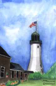 """Scituate Lighthouse Massachusetts"" Boxed Note Cards Original Watercolor by Brad Tonner"