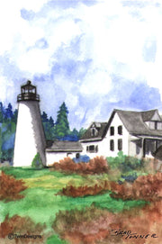 """Dyce Head Lighthouse Maine"" Boxed Note Cards Original Watercolor by Brad Tonner"