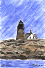 """Mount Desert Rock Lighthouse Maine"" Boxed Note Cards Original Watercolor by Brad Tonner"