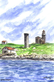 """Matinicus Rock Lighthouse Maine"" Boxed Note Cards Original Watercolor by Brad Tonner"