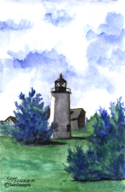 """Newburyport Harbor Lighthouse Massachusetts"" Boxed Note Cards Original Watercolor by Brad Tonner"