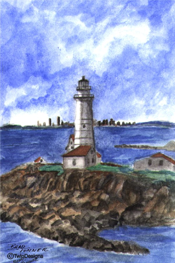 """Boston Harbor Lighthouse"" Boxed Note Cards Original Watercolor Brad Tonner"