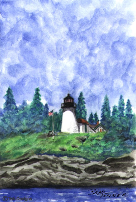 """Burnt Island Lighthouse Maine"" Boxed Note Cards Original Watercolor by Brad Tonner"