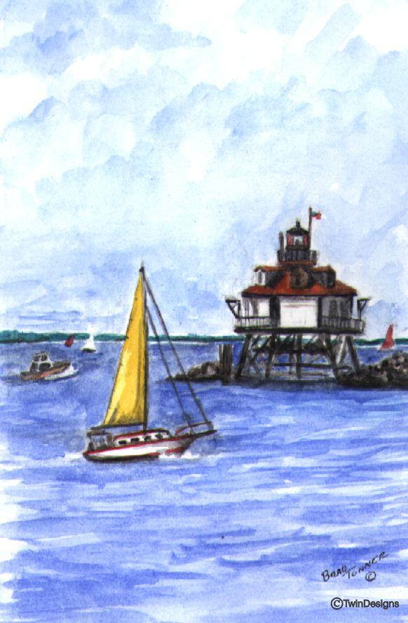"""Thomas Point Shoal Lighthouse Maryland"" Boxed Note Cards Original Watercolor by Brad Tonner"