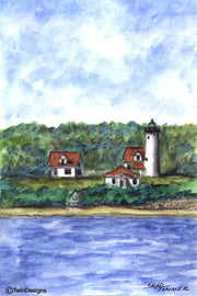 """West Chop Lighthouse Martha's Vineyard"" Boxed Note Cards Original Watercolor by Brad Tonner"